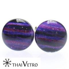 【ThaiVetro】パープルグラデーション・ボーダーデザインのガラス製カフス(カフスボタン/カフリンクス)