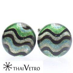 【ThaiVetro】グリーン×ライトブルー・リップルデザインのガラス製カフス(カフスボタン/カフリンクス)