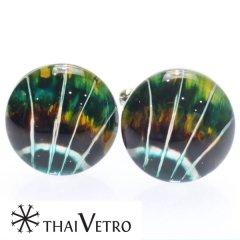 【ThaiVetro】油絵風・神秘的なデザインのガラス製カフス(カフスボタン/カフリンクス)