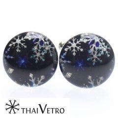 【ThaiVetro】雪の結晶がキラキラ輝くネイビーのガラス製カフス(カフスボタン/カフリンクス)