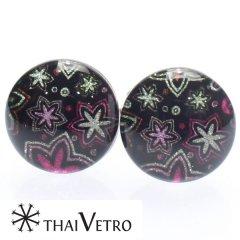 【ThaiVetro】フラワーギャラクシー・ポップなガラス製カフス(カフスボタン/カフリンクス)