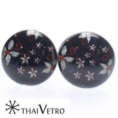 【ThaiVetro】フラワーデザイン・和風なガラス製カフス(カフスボタン/カフリンクス)