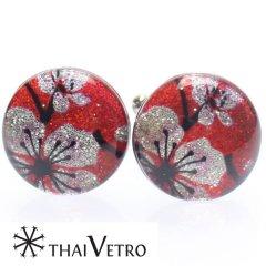 【ThaiVetro】梅の花モチーフ・和風なガラス製カフス(カフスボタン/カフリンクス)