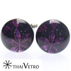 【ThaiVetro】ピンクパープルがキラキラ輝くフラワーデザイン・和風なガラス製カフス(カフスボタン/カフリンクス)