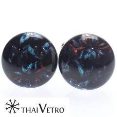 【ThaiVetro】フラワーデザイン・神秘的なガラス製カフス(カフスボタン/カフリンクス)