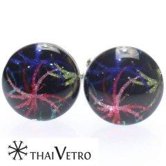 【ThaiVetro】花火デザイン・華やかなガラス製カフス(カフスボタン/カフリンクス)