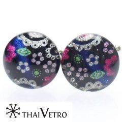 【ThaiVetro】ハニカム風お花デザイン・カラフルなガラス製カフス(カフスボタン/カフリンクス)