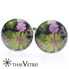 【ThaiVetro】モダンな和風お花デザイン・イエローのガラス製カフス(カフスボタン/カフリンクス)