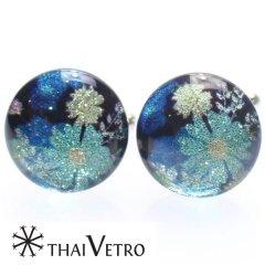 【ThaiVetro】モダンな和風お花デザイン・ブルーのガラス製カフス(カフスボタン/カフリンクス)