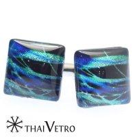 【ThaiVetro】ブラックライト・波デザイン・ブルーのガラス製カフス(カフスボタン/カフリンクス)