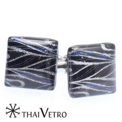 【ThaiVetro】シルバー×ブルー・スラッシュデザインのガラス製カフス(カフスボタン/カフリンクス)