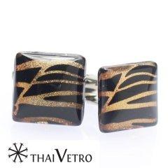 【ThaiVetro】ゴールドが煌くゼブラ風デザインのガラス製カフス(カフスボタン/カフリンクス)