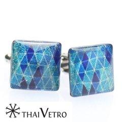 【ThaiVetro】グラデーションが美しいブルートライアングルのガラス製カフス(カフスボタン/カフリンクス)