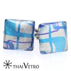 【ThaiVetro】モダン系アートのガラス製カフス(カフスボタン/カフリンクス)