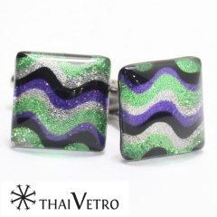 【ThaiVetro】グリーン×パープル・リップルデザインのガラス製カフス(カフスボタン/カフリンクス)
