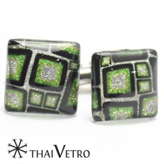 【ThaiVetro】グリーン・マシュマロデザインのガラス製カフス(カフスボタン/カフリンクス)