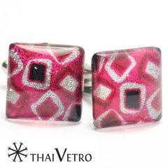 【ThaiVetro】ピンク・マシュマロデザインのガラス製カフス(カフスボタン/カフリンクス)