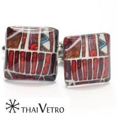 【ThaiVetro】和風モダンなイラストのガラス製カフス(カフスボタン/カフリンクス)