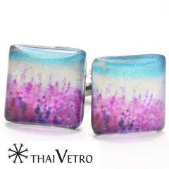 【ThaiVetro】カラフルなグラデーションが美しいガラス製カフス(カフスボタン/カフリンクス)