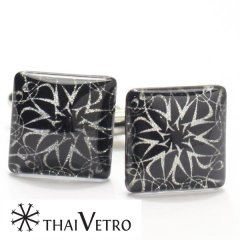 【ThaiVetro】モノトーン・フラワーアートのガラス製カフス(カフスボタン/カフリンクス)