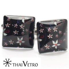 【ThaiVetro】小花がモダンで和風なガラス製カフス(カフスボタン/カフリンクス)