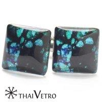 【ThaiVetro】ターコイズ・バタフライデザインのガラス製カフス(カフスボタン/カフリンクス)