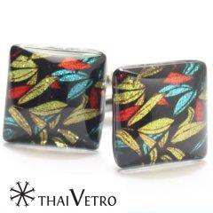 【ThaiVetro】カラフルな竹の葉が輝くガラス製カフス(カフスボタン/カフリンクス)