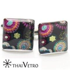 【ThaiVetro】孔雀風フラワーデザインのガラス製カフス(カフスボタン/カフリンクス)