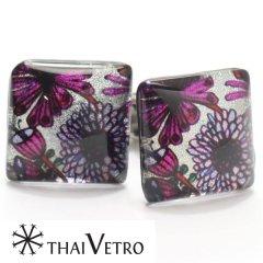 【ThaiVetro】パープル・フラワーデザンのガラス製カフス(カフスボタン/カフリンクス)