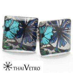 【ThaiVetro】ブルー・フラワーデザンのガラス製カフス(カフスボタン/カフリンクス)