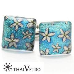 【ThaiVetro】キラキラオーシャンブルー・フラワーのガラス製カフス(カフスボタン/カフリンクス)