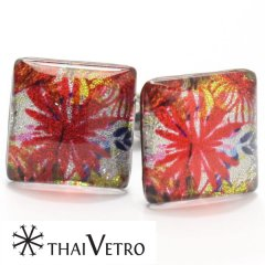【ThaiVetro】華やかなグラフィック系フラワーデザインのガラス製カフス(カフスボタン/カフリンクス)