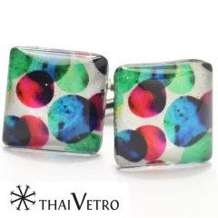 【ThaiVetro】マルチカラー・ドットデザインのガラス製カフス(カフスボタン/カフリンクス)