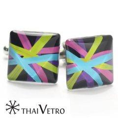 【ThaiVetro】ポップなカラフルラインのガラス製カフス(カフスボタン/カフリンクス)