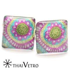 【ThaiVetro】ハニカム風・甘いお花デザインのガラス製カフス(カフスボタン/カフリンクス)
