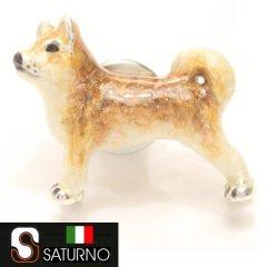 【SATURNO・サツルノ】柴犬のタイタック(ピンブローチ)