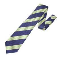 全3色・レジメンタルストライプ・ネイビー×グリーンの西陣織ネクタイ
