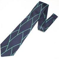 全3色・三丁紋柄・ネイビー×グリーンラインの西陣織ネクタイ