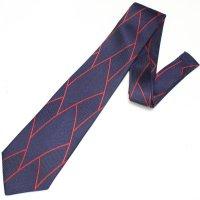 全3色・三丁紋柄・ネイビー×レツドラインの西陣織ネクタイ