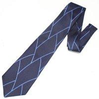全3色・三丁紋柄・ネイビー×ブルーラインの西陣織ネクタイ