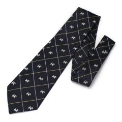 全3色・ミニチュアシュナウザー・テリア・犬・ブラックの西陣織ネクタイ