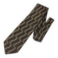 全2色・ブラウン×イエロー・紐デザインの西陣織ネクタイ