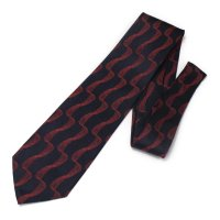全2色・ネイビー×レッド・紐デザインの西陣織ネクタイ