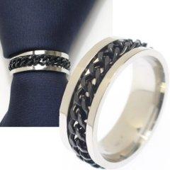名入れ刻印サービス対象/ネクタイリング・チェーンデザイン・シルバー×ブラックのタイリング (スカーフリング)