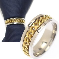 チェーンデザイン・シルバー×ゴールドのタイリング (スカーフリング)