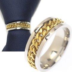 名入れ刻印サービス対象/ネクタイリング・チェーンデザイン・シルバー×ゴールドのタイリング (スカーフリング)