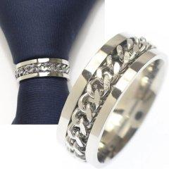 名入れ刻印サービス対象/ネクタイリング・チェーンデザイン・シルバー×シルバーのタイリング (スカーフリング)