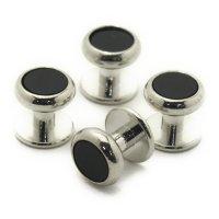 スタッドボタン オニキス シルバー4個セット (スタッズボタン)