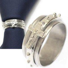 ネクタイリング・パンキッシュ・イエス・キリスト・パンクなシルバーのタイリング (スカーフリング)