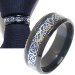 名入れ刻印サービス対象/ネクタイリング・ブラック×ブルー・ドラゴンのタイリング (スカーフリング)